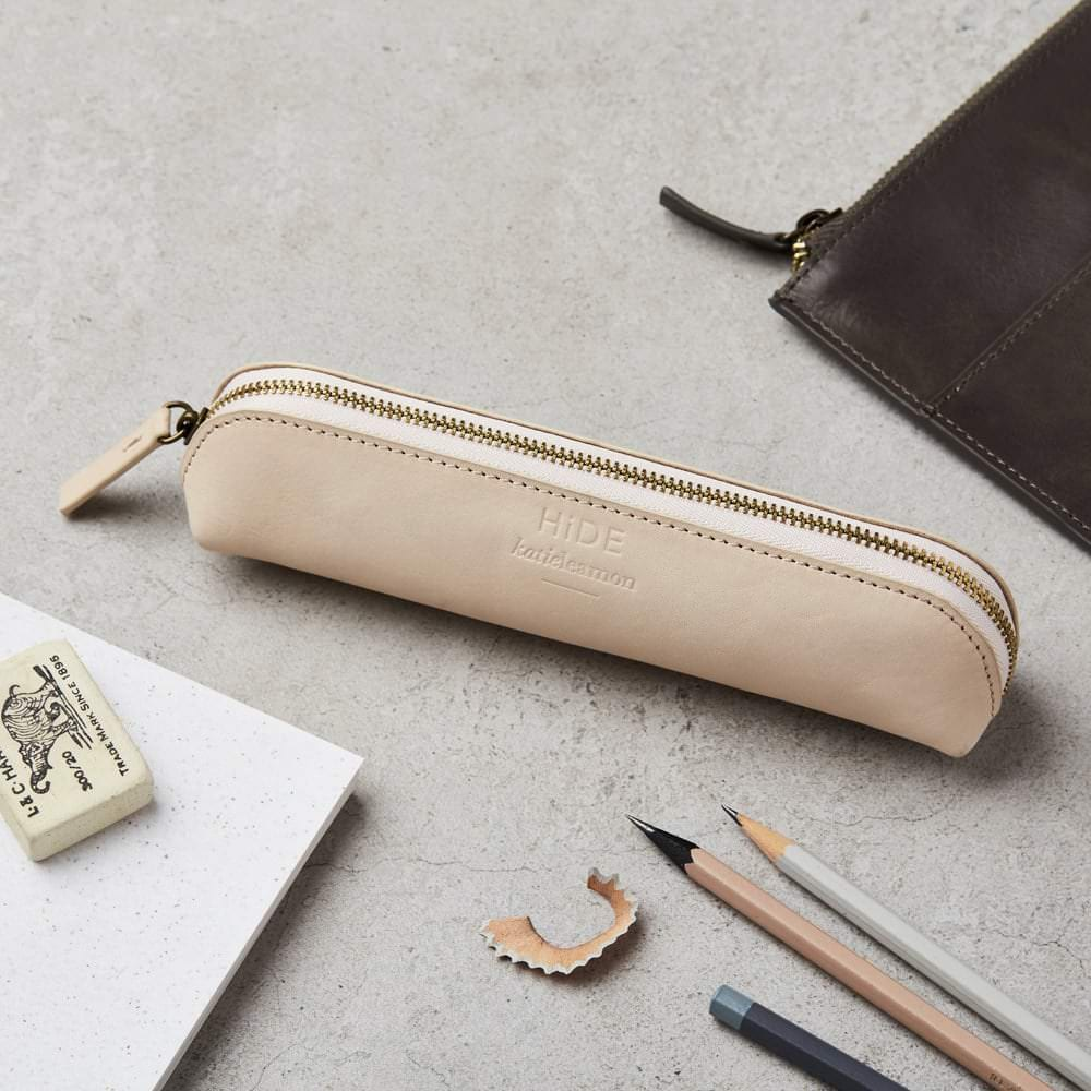 Katie Leamon Nude leather pencil case