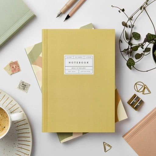 Lay Flat Notebook Mustard A5 Blank Pages