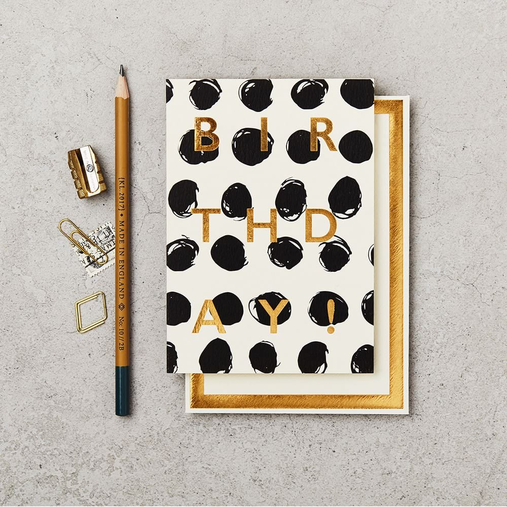 Katie Leamon Black and white polka dot birthday card