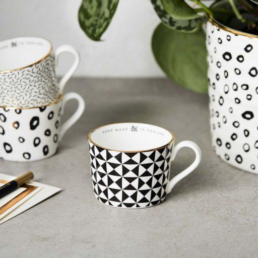 katie Leamon Black & White Pyramid Espresso Cup
