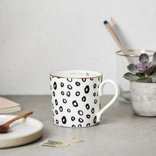 Katie Leamon Black & White Hoop Mug