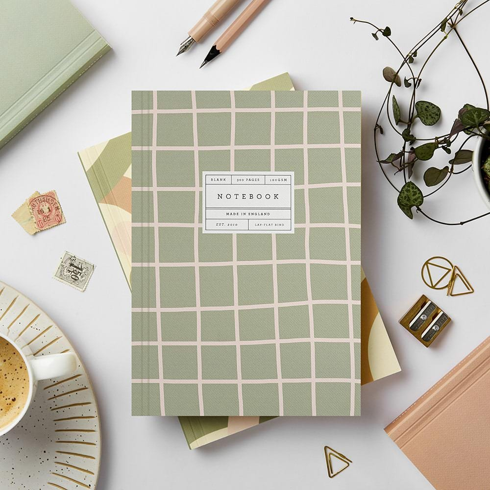 Green Grid Lay Flat Notebook