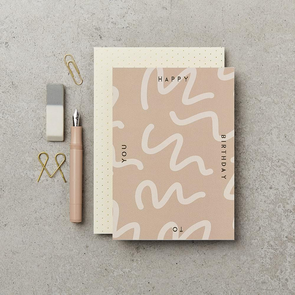 Katie Leamon Rose Squiggle Birthday Card